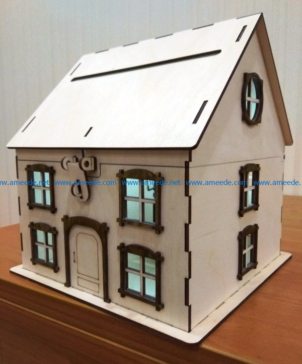 Wooden House Piggy Bank file cdr and dxf free vector download for Laser cut