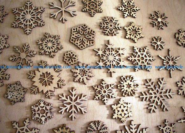 Wooden Snowflakes file cdr and dxf free vector download for Laser cut