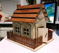 Wooden house model file cdr and dxf free vector download for Laser cut CNC