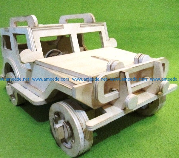 Wooden jeep model file cdr and dxf free vector download for Laser cut CNC