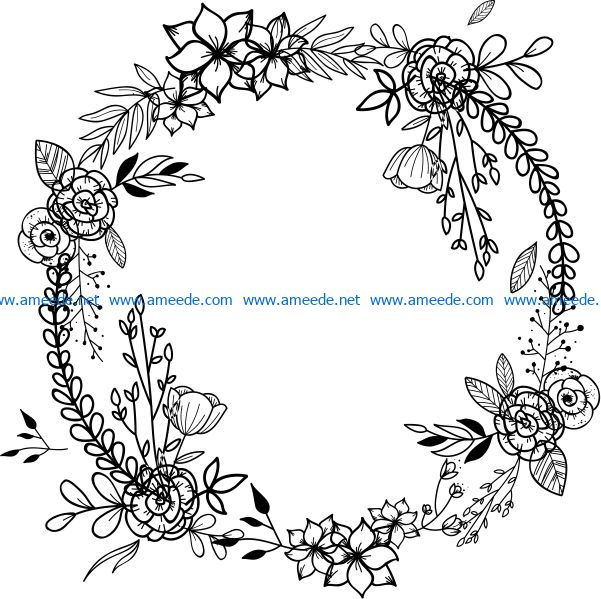Wreath with poppies file cdr and dxf free vector download for print or laser engraving machines