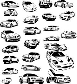 car model file cdr and dxf free vector download for print or laser engraving machines