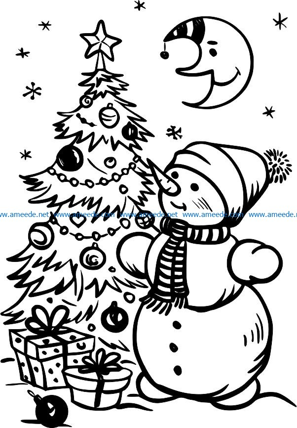 christmas snowman file cdr and dxf free vector download for print or laser engraving machines