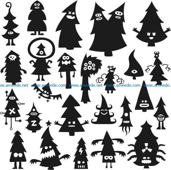 Funny Christmas tree file cdr and dxf free vector download for print or laser engraving machines