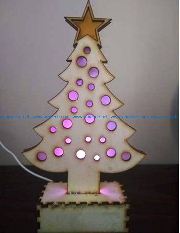 light up christmas tree file cdr and dxf free vector download for Laser cut