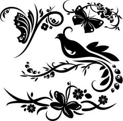 murals of birds and butterflies file cdr and dxf free vector download for print or laser engraving machines