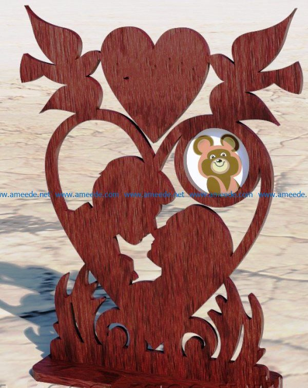 photo frame with pigeons file cdr and dxf free vector download for Laser cut