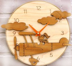 the little girl flying the plane wall clock free vector download for Laser cut CNC