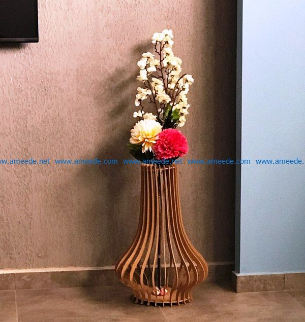 vase for flowers file cdr and dxf free vector download for Laser cut