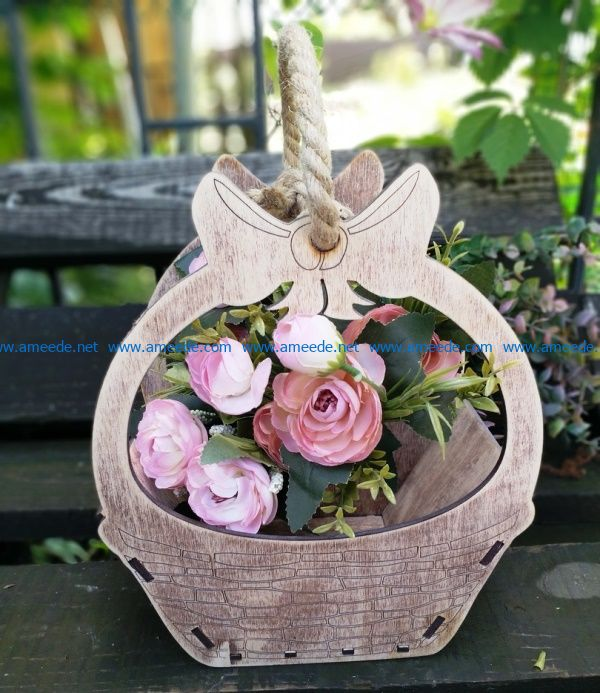 wooden flower basket file cdr and dxf free vector download for Laser cut CNC