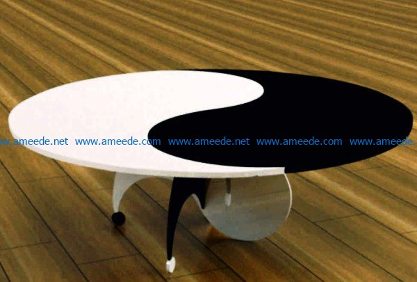 yin yang table file cdr and dxf free vector download for Laser cut CNC