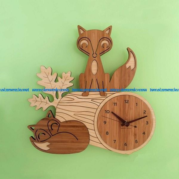 the Fox and the clock file cdr and dxf free vector download for Laser cut