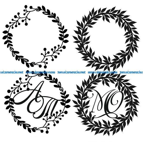 Rustic wreath file cdr and dxf free vector download for print or laser engraving machines