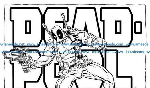 deadpool file cdr and dxf free vector download for print or laser engraving machines