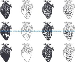 heart vector set file cdr and dxf free vector download for print or laser engraving machines