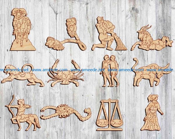 12 signs of the zodiac file cdr and dxf free vector download for Laser cut