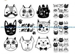 Cartoon cat face file cdr and dxf free vector download for print or laser engraving machines