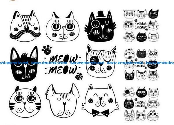 Cartoon Cat Face File Cdr And Dxf Free Vector Download For Print Or Laser Engraving Machines Download Free Vector