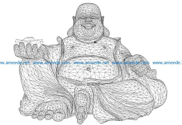 3D illusion led lamp Buddha fortune free vector download for laser engraving machines