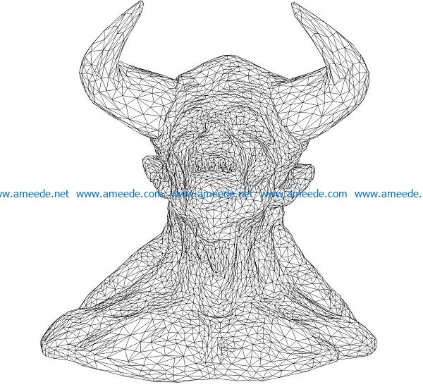 3D illusion led lamp Buffalo head free vector download for laser engraving machines