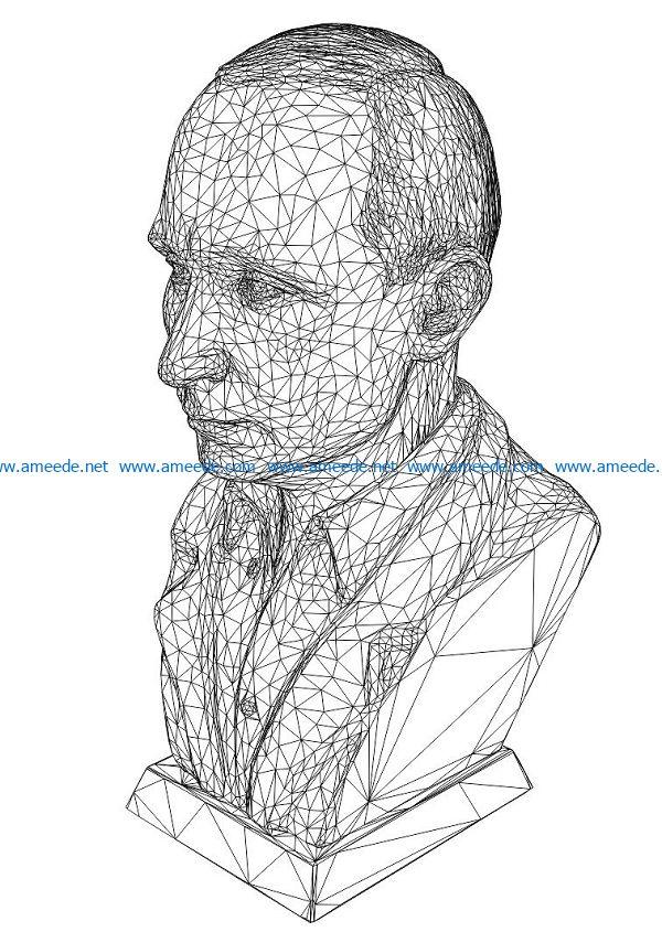 3D illusion led lamp Bust of Vladimir Putin free vector download for laser engraving machines