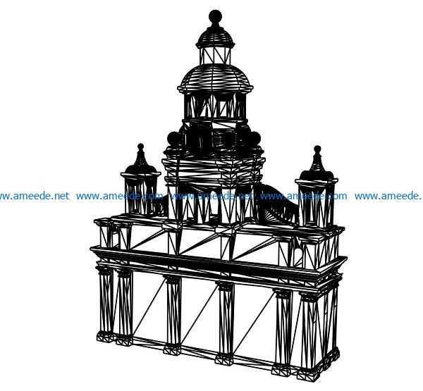 3D illusion led lamp Castle free vector download for laser engraving machines