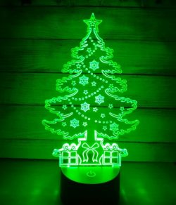 3D illusion led lamp Christmas tree free vector download for laser engraving machines
