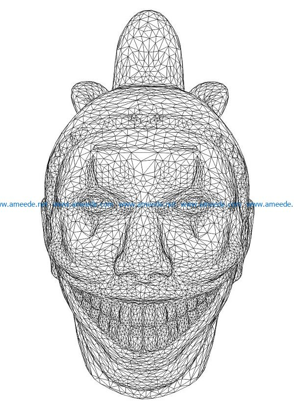 3D illusion led lamp Clown head free vector download for laser engraving machines
