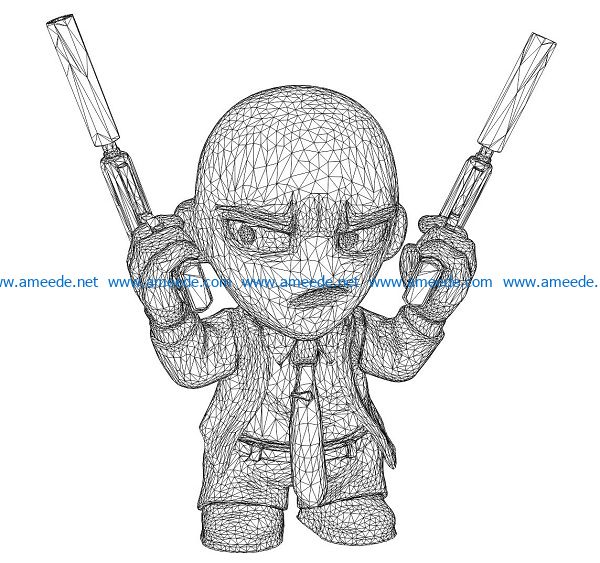 3D illusion led lamp Cowboys free vector download for laser engraving machines