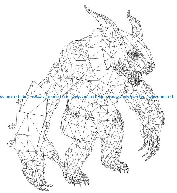 3D illusion led lamp Demon bear free vector download for laser engraving machines