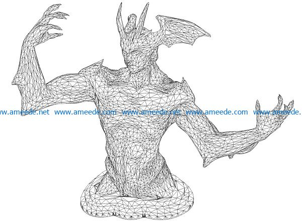 3D illusion led lamp Demon king body free vector download for laser engraving machines
