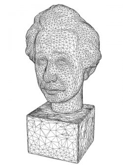 3D illusion led lamp Einstein Bust free vector download for laser engraving machines
