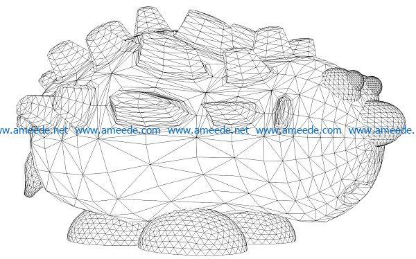 3D illusion led lamp Hedgehog pen holder free vector download for laser engraving machines