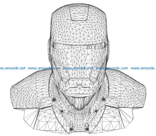 3D illusion led lamp Iron man bust free vector download for laser engraving machines3D illusion led lamp Iron man bust free vector download for laser engraving machines
