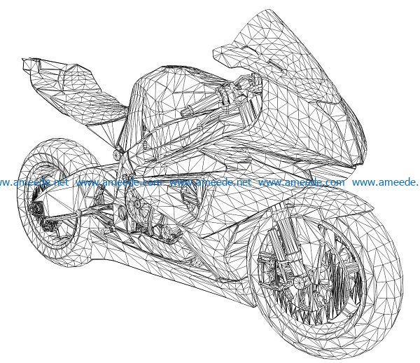 3D illusion led lamp Large displacement motorbike free vector download for laser engraving machines