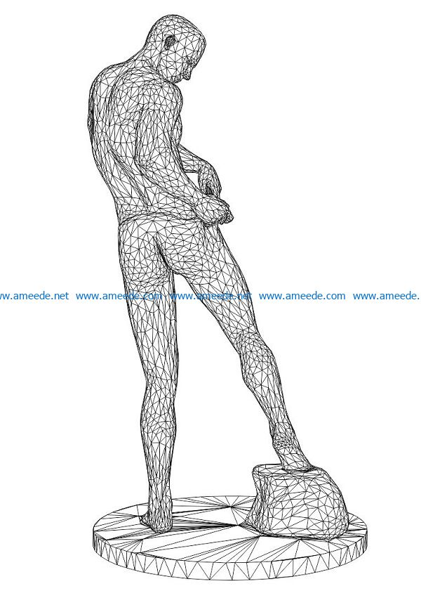 3D illusion led lamp Man in underpants free vector download for laser engraving machines