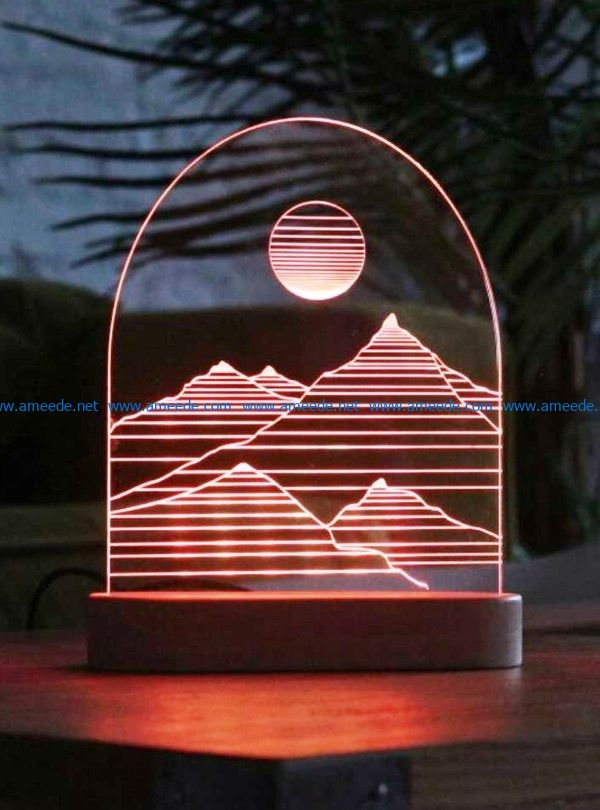 3D illusion led lamp Mountain free vector download for laser engraving machines_ACD_0