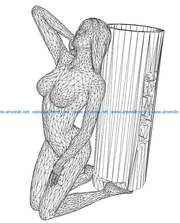 3D illusion led lamp Naked girl sitting free vector download for laser engraving machines