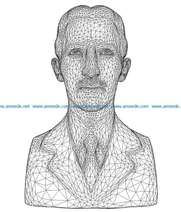 3D illusion led lamp Nikola Tesla bust free vector download for laser engraving machines
