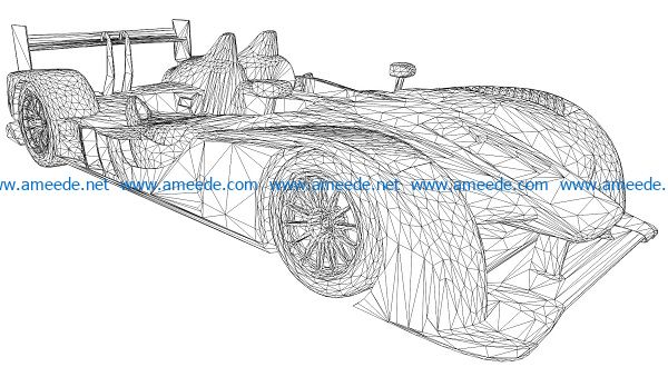 3D illusion led lamp Race car free vector download for laser engraving machines
