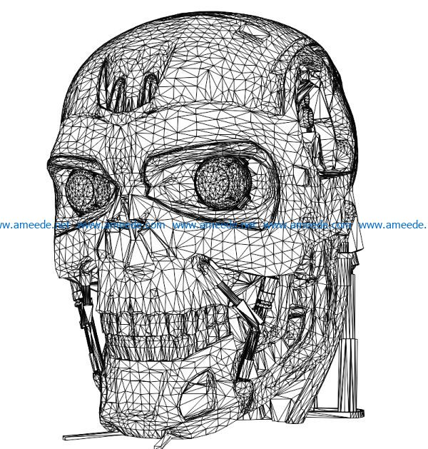 3D illusion led lamp Robot T-800 free vector download for laser engraving machines