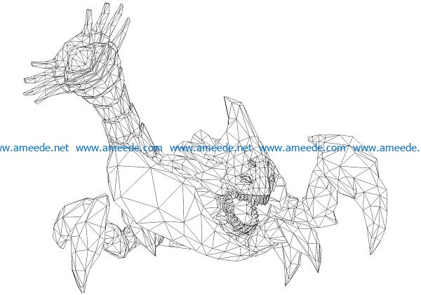 3D illusion led lamp Scorpion free vector download for laser engraving machines