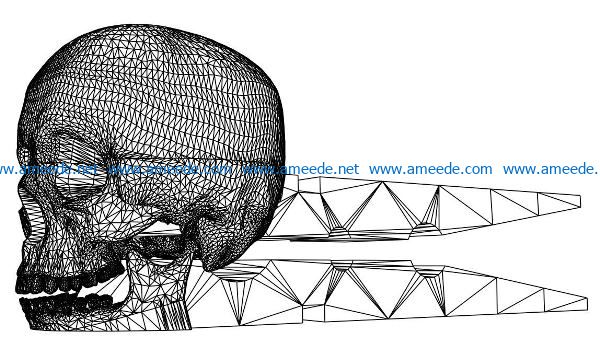 3D illusion led lamp Skull clamps free vector download for laser engraving machines