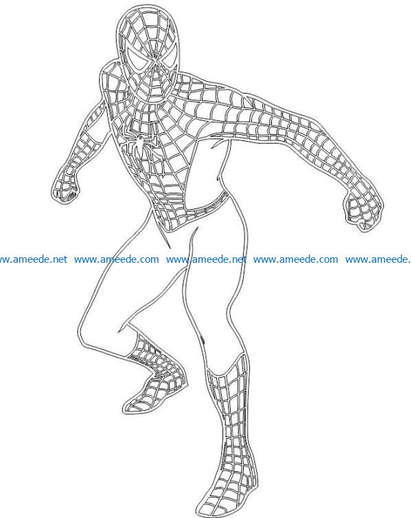 3D illusion led lamp Spiderman free vector download for laser engraving machines