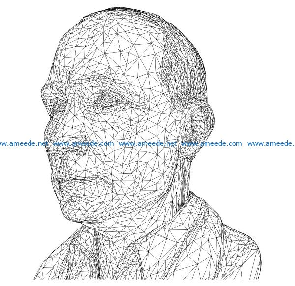 3D illusion led lamp Vladimir Putin stone statue free vector download for laser engraving machines