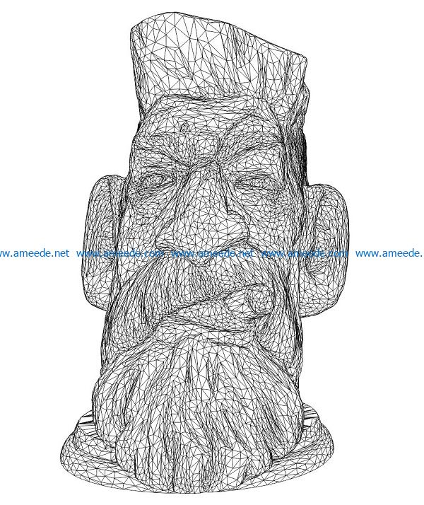 3D illusion led lamp Wooden people face free vector download for laser engraving machines
