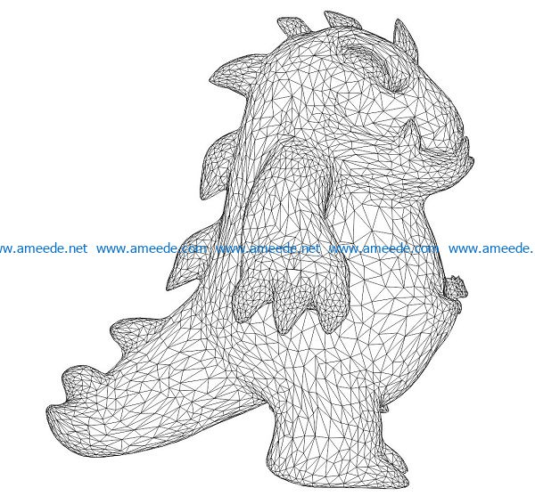 3D illusion led lamp baby dinosaur free vector download for laser engraving machines