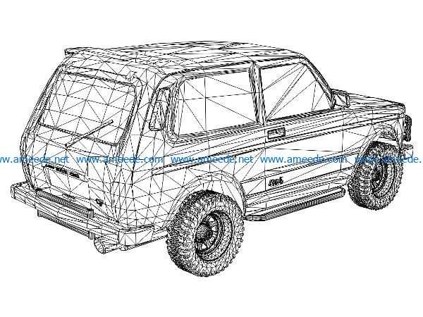 3D illusion led lamp behind the Niva car free vector download for laser engraving machines
