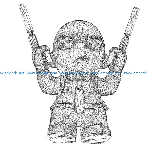 3D illusion led lamp boy with gun free vector download for laser engraving machines