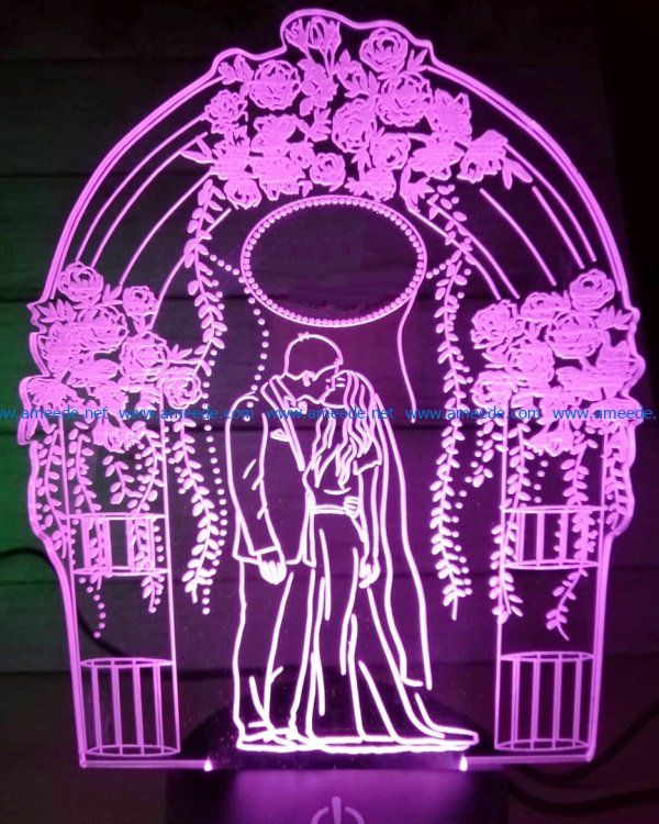 3D illusion led lamp bride and groom free vector download for laser engraving machines